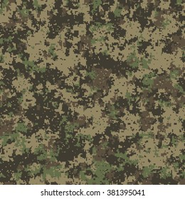 Seamless pattern. Abstract military or hunting camouflage background. Made from geometric square shapes. Vector illustration.