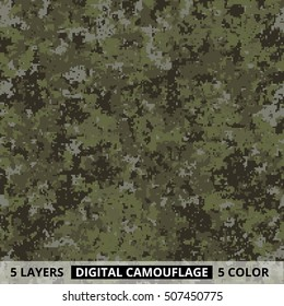 Seamless pattern. Abstract military or hunting digital pixel camouflage background. 5 colors on separate layers. Vector illustration.