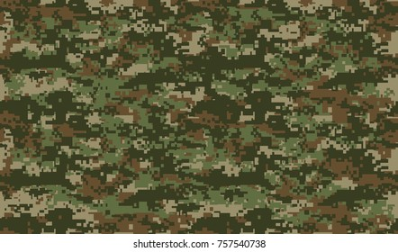 Seamless pattern. Abstract military or hunting camouflage background. Brown, green color. Vector illustration. repeated seamless