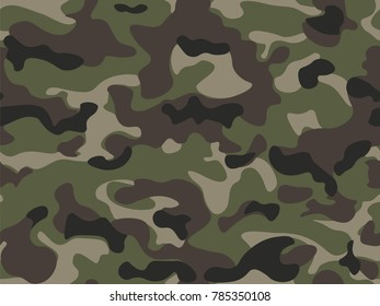 Seamless pattern. Abstract military or hunting camouflage background. Brown, green, black color. Vector illustration.