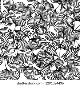 seamless pattern of abstract outline of black leaves, natural background vector illustration