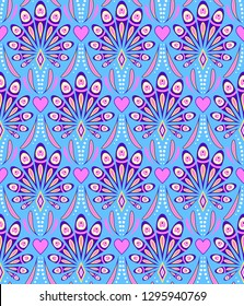 Seamless pattern with abstract peacock feathers on blue background. It be perfect for stationery, clothing, accessories, invitation cards, packaging and more.