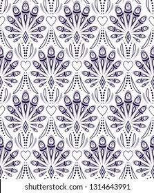 Seamless pattern with abstract peacock feathers on white background.