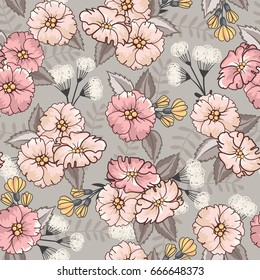 Seamless pattern with abstract pink and yellow flowers on a gray background. Romantic floral background perfect for fabric textile, vintage paper.Vector illustration.