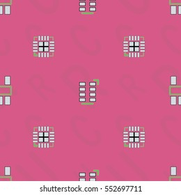 """Seamless pattern with abstract placement of components (geometries, cells) with green silkscreen and white pads on pink background with lettering of reference """"C, R, U"""". Abstract pcb design."""