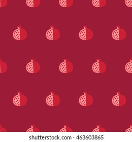 Seamless pattern with abstract pomegranate one dark red background