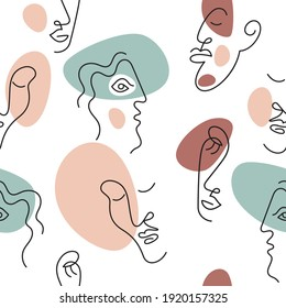 Seamless pattern with abstract portraits .Portret minimalistic style