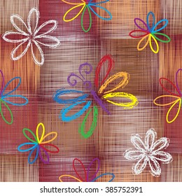 Seamless pattern with abstract rainbow butterfly and flowers on grunge striped and checkered colorful background