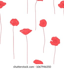 Seamless pattern with abstract red poppies.  Vector illustration