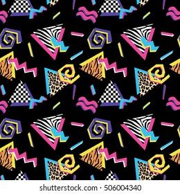 Seamless pattern with abstract shapes and animal prints in nineties style