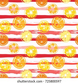 Seamless pattern with abstract slices of lemon and orange on stripes in grungy style