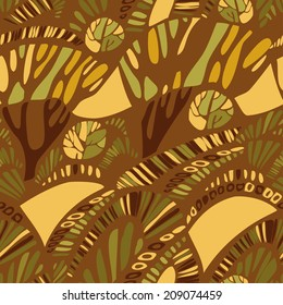 Seamless pattern with abstract trees in african savanna. Vector sultry landscape with african savanna
