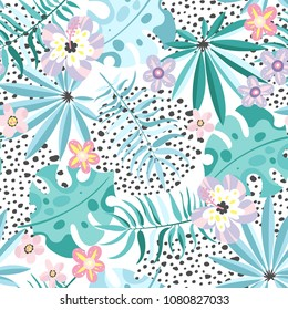 Seamless pattern with abstract tropical leaves and flowers in trendy color. Vector illustration.