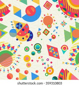 Seamless pattern with abstract vibrant multicolor geometry shape designs, modern style background. EPS10 vector.
