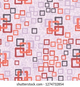 Seamless pattern. An abstraction containing colored sloppy squares. Background consisting of a hodgepodge of fragments of translucent lattices.