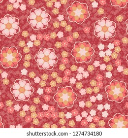 Seamless pattern. An abstraction containing large six-petal and small five-petal flowers. Background consisting of a hodgepodge of fragments of translucent lattices.