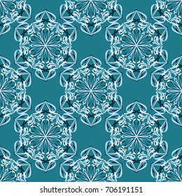 Seamless pattern. Abstraction. Fantastic colored snowflakes arranged in diagonal rows. Wallpaper for backgrounds on sites, desktops. Drawing for children's and women's textiles. Blue tones and white.