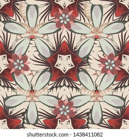 Seamless pattern of abstrat flowers in beige, gray and brown colors. Stock vector illustration. Vintage style.