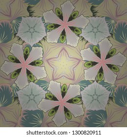Seamless pattern of abstrat flowers in gray, beige and green colors. Stock vector illustration. Vintage style.