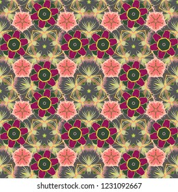 Seamless pattern of abstrat flowers in green, gray and pink colors. Stock vector illustration. Vintage style.