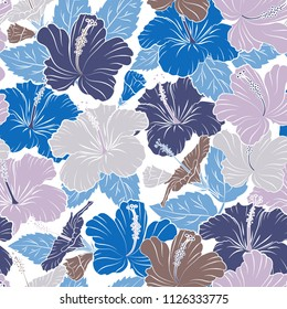 Seamless pattern of abstrat hibiscus flowers in blue and white colors. Vintage style. Stock vector illustration.