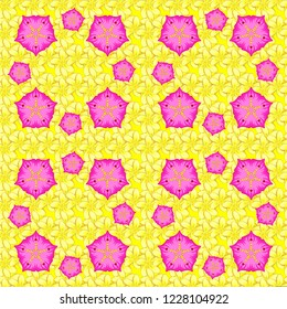 Seamless pattern of abstrat plumeria flowers in yellow, pink and magenta colors. Vintage style. Stock vector illustration.
