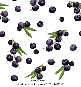 Seamless pattern with acai berries on white background. Vector illustration in cartoon flat style.