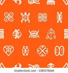 Seamless pattern with adinkra symbols