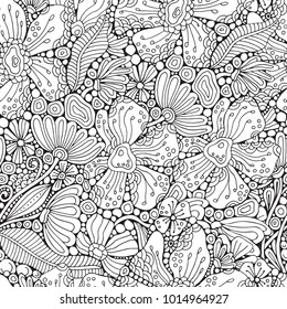 Seamless pattern. Adult Coloring book page with different flowers and leaf in zentangle style. Black and white vector illustration. Doodle, hand drawn, zen art, anti stress.