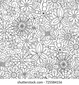 Seamless Pattern for adult coloring book with flowers.  Ethnic, floral, retro, doodle, vector, tribal design element. Black and white  background.