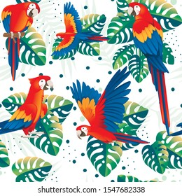 Seamless pattern of adult parrot of red-and-green macaw Ara (Ara chloropterus) with green tropical leaves cartoon bird design flat vector illustration on white background