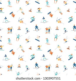 Seamless pattern with adults and children in winter snow suits snowboarding and skiing. Backdrop with male and female cartoon ski and snowboard riders. Flat cartoon vector illustration for wallpaper.