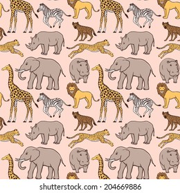 Seamless pattern with African animals