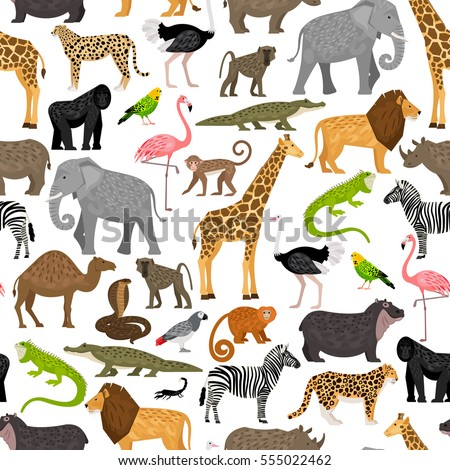 Seamless Pattern African Animals Birds Stock Vector Royalty Free