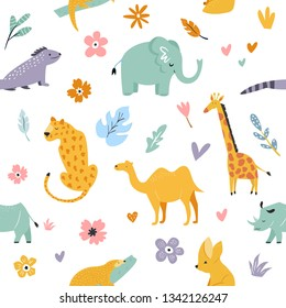 Seamless pattern with african animals and floral prints. Giraffe, camel, leopard, fennec fox, pangolin, elephant, rhino