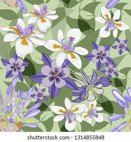 seamless pattern with african iris,acapanthus and purple flowers.Hand drawn vector illustration