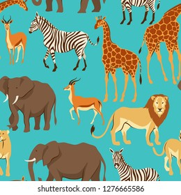 Seamless pattern with African savanna animals. Stylized illustration.