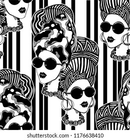 Seamless pattern with African woman in traditional geometric turban, head wrap. Urban fashion background wallpapper.