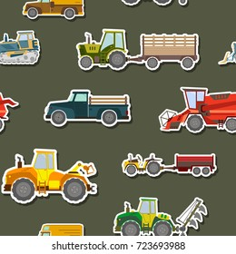 Seamless pattern with agricultural machinery for your design