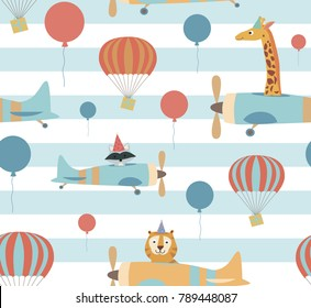 Seamless pattern with air balloons and plane. Vector Illustration