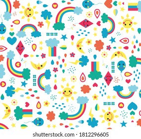 Seamless pattern of air elements in blue yellow, with sun balloon cloud rain rainbow snow kite heart star, graphic geometric abstract retro, sweet happy kids background illustration in vector