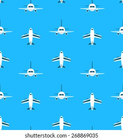 Seamless Pattern with Airplanes - Vector