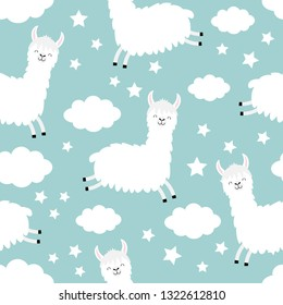 Seamless Pattern. Alpaca llama jumping. Cloud star in the sky. Cute cartoon kawaii funny smiling baby character. Wrapping paper, textile template. Nursery decoration Flat design Blue background Vector