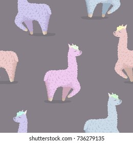 Seamless pattern with alpaca in neon colors - south america's lama . Vector illustration. wrapping paper or textile pattern