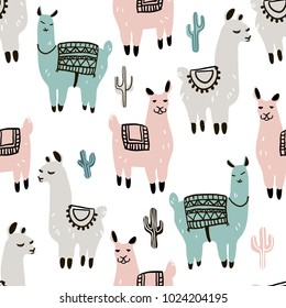 Seamless pattern with alpaca - south america's lama and cactus on a textured background. Vector illustration.