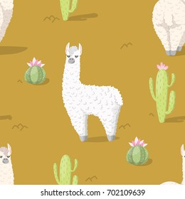 Seamless pattern with alpaca - south america's lama and cactus with flower. Vector illustration.