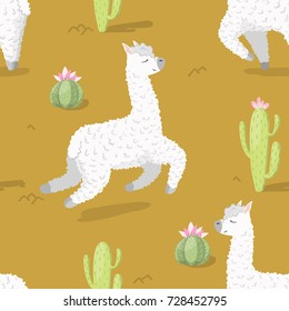 Seamless pattern with alpaca - south america's lama and cactus . Vector illustration.