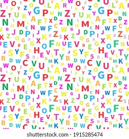 Seamless pattern with alphabet letters. Endless background for English language Day. Chaotically located symbols. Vector illustration