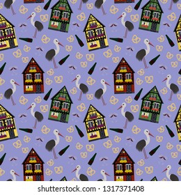 Seamless pattern in Alsace style with houses, wine and storks
