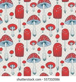 Seamless pattern with amanita forest mushrooms - vector outline hand drawn sketch. Collection of different mushrooms with roots, real edible and poisonous boletus